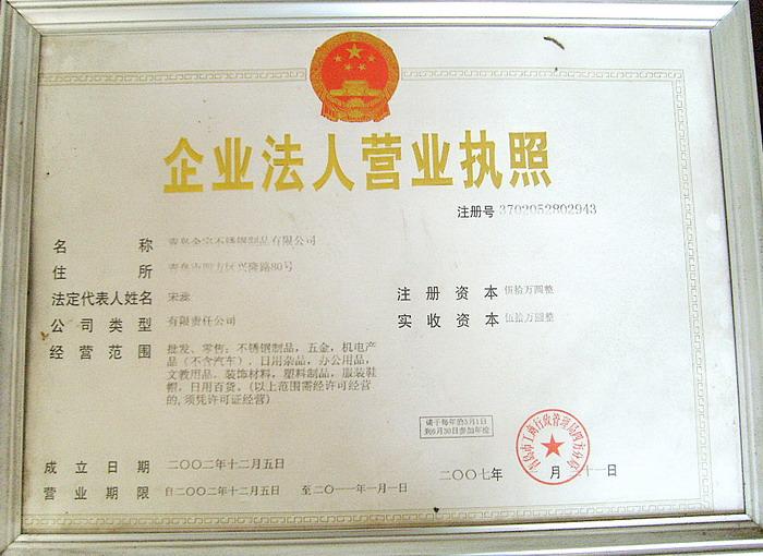 工商注册信息青岛金宇不锈钢制品有限公司-不锈钢制品